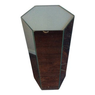 Mirrored Silver Lighted Pedestal For Sale