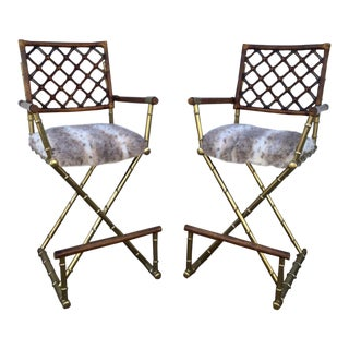 Faux Bamboo Gilt Metal Director Chairs- A Pair For Sale