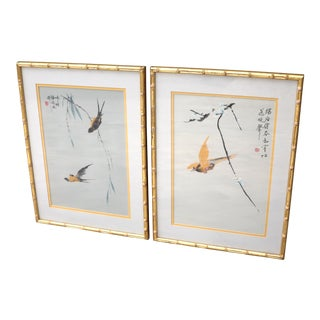 Embroidered Birds on Silk Fabric in Gold Faux Bamboo Frames With Gold Mats - Set of 2 For Sale