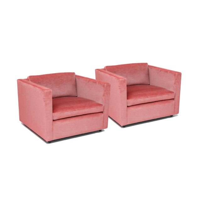 Americana 1970's Knoll Lounge Chairs by Charles Pfister in Pink Cotton Velvet For Sale - Image 3 of 3