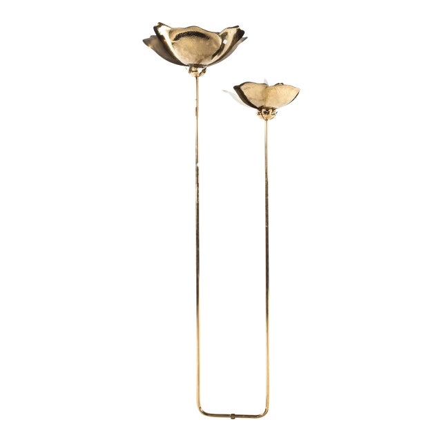 Tommaso Barbi Hammered Brass Flower Petal and Marble Floor Lamp For Sale