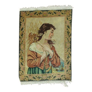 Pictorial Tabriz Lady Rug, 2' X 2'8'' For Sale