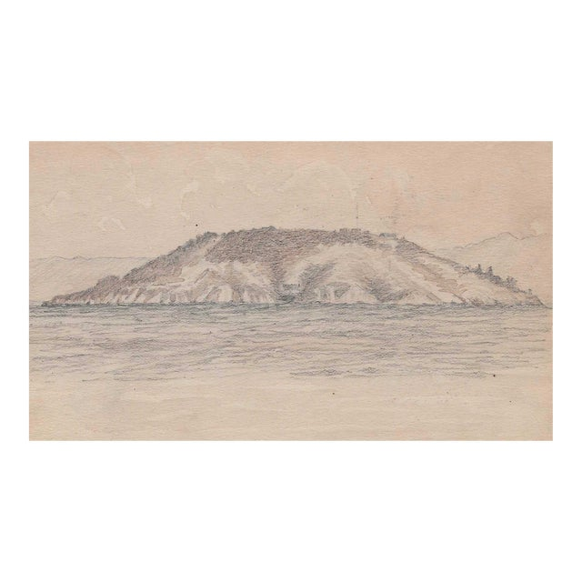 1920s California Island Harbor Drawing by Benjamin Harnett For Sale