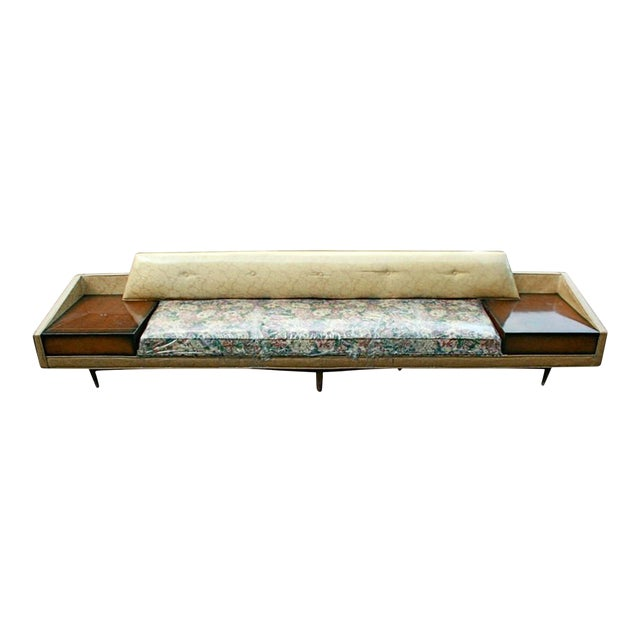 Monumental Floral Sofa with Incorporated End Tables For Sale