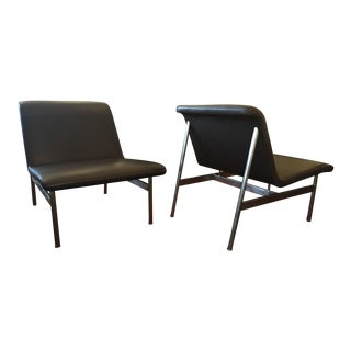 Bernhardt Cp2 Leather & Chrome Lounge Chairs - a Pair