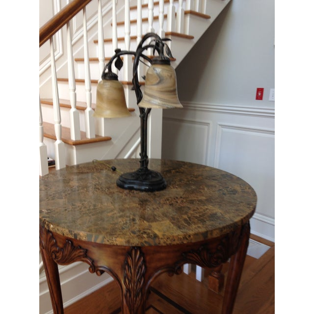 Foyer Table With Marble Top : Maitland smith wood and faux marble top foyer table chairish