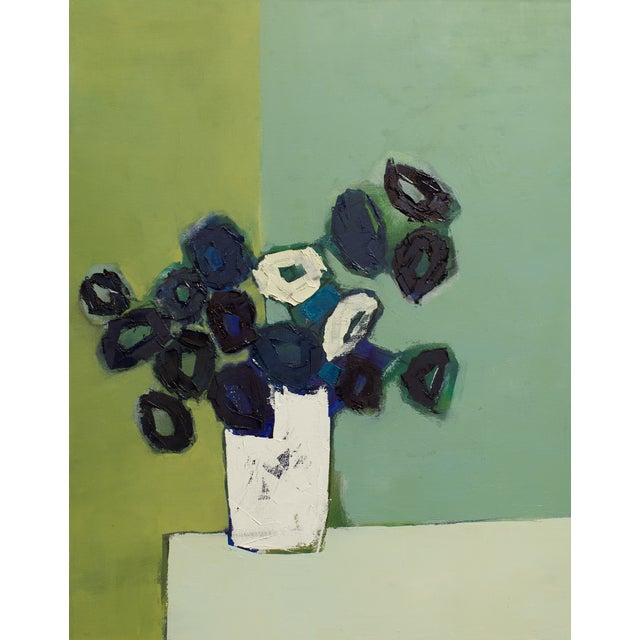 """Bill Tansey """"White Vase"""" Abstract Floral Oil on Canvas For Sale"""