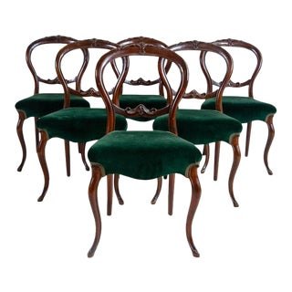 Antique Victorian Balloon Back Velvet Chairs Set of 6 For Sale