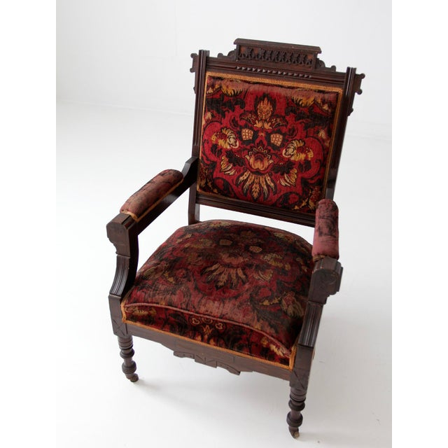 Antique Upholstered Arm Chair For Sale - Image 4 of 11