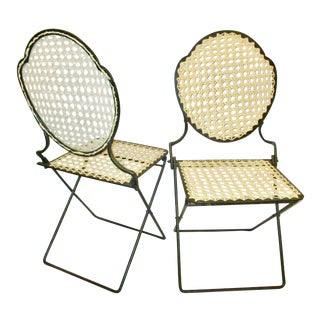 1900s Antique French Iron Cane Seat Patio Chairs - a Pair