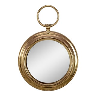 Mid-Century French Round Pocket Watch Brass Wall Mirror