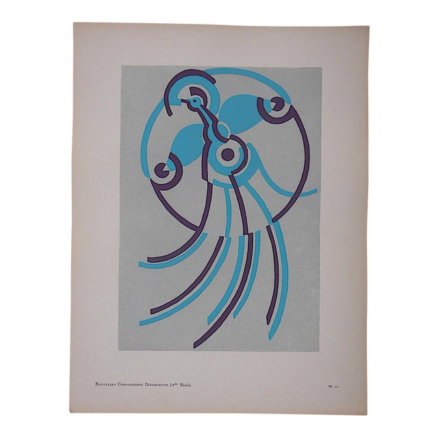 Vintage Serge Gladky Limited Edition Pochoir Print of Abstracted Bird, Circa 1928 - Image 1 of 3