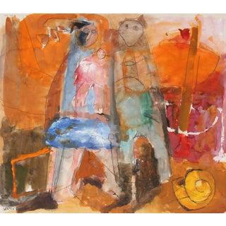 Warm Abstract Figurative Scene, 20th Century, Gouache and Graphite For Sale