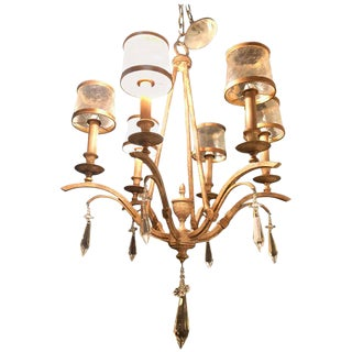Italian Gilt Metal Six-Light Chandelier with Glass Frosted Shades For Sale