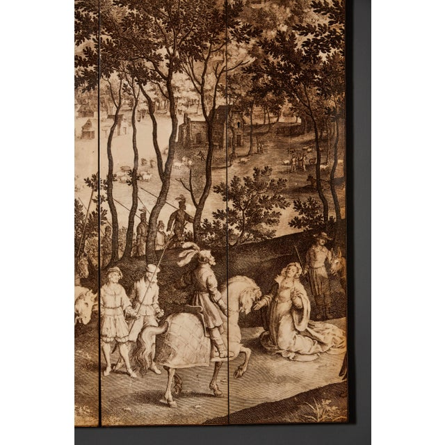 1970s Four-Panel Screen in the Manner of Fornasetti For Sale - Image 5 of 9