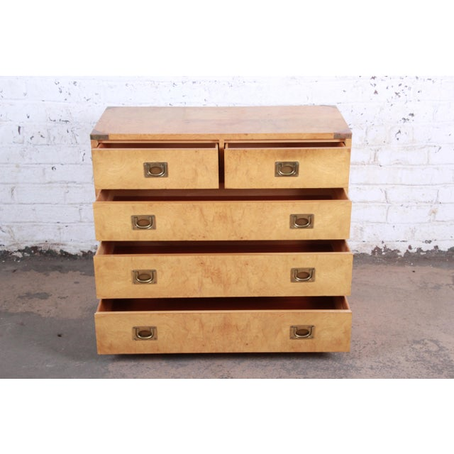 Metal Henredon Burl Wood Campaign Style Five-Drawer Dresser Chest For Sale - Image 7 of 12