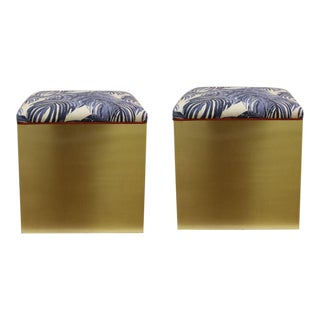 Taylor Burke Home Brass Ottomans With Lacefield Fabric - A Pair For Sale