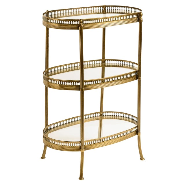 French Petite Brass Three Tier Gallery Table, After Maison Jansen For Sale