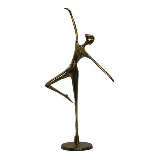 Vintage Brass Ballerina Ballet Dancer Figurine For Sale