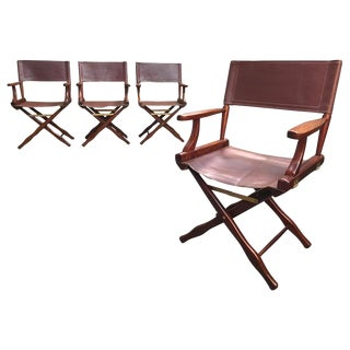 Vintage Mid Century M. Hayat & Bros Ltd Rosewood and Leather Director Chairs- Set of 4 For Sale