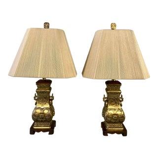 1960s Chinoiserie Sculptural Gilt Bronze Brass Wood Silk Lamps - a Pair For Sale