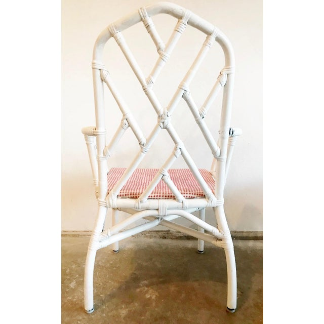 White 1960s Chippendale Rattan Chairs- Set of 6 For Sale - Image 8 of 10