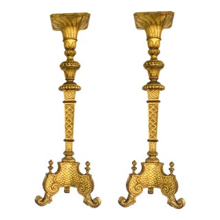 Mid-Century Modern Asian Antique Gold Finished Carved Wood Pedestals - a Pair For Sale