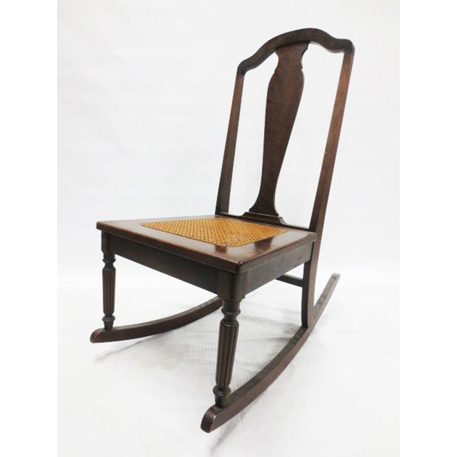 Mahogany Rocker With Caned Seat - Image 2 of 5
