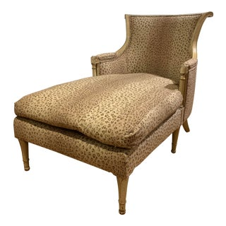 Antique Louis XVI French Chaise Lounge Upholstered in Ralph Lauren Leopard Linen For Sale