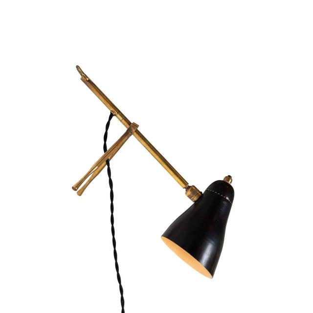 "Black 1950s Giuseppe Ostuni ""Ochetta"" Wall or Table Lamp for O-Luce For Sale - Image 8 of 13"