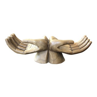 Vintage Bohemian Carved Wooden Human Hand Sculpture For Sale