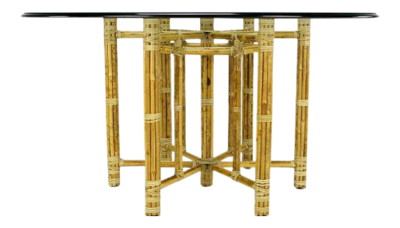mcguire furniture company laced. McGuire Hexagonal Reeded Bamboo Glass Top Dining Table Mcguire Furniture Company Laced
