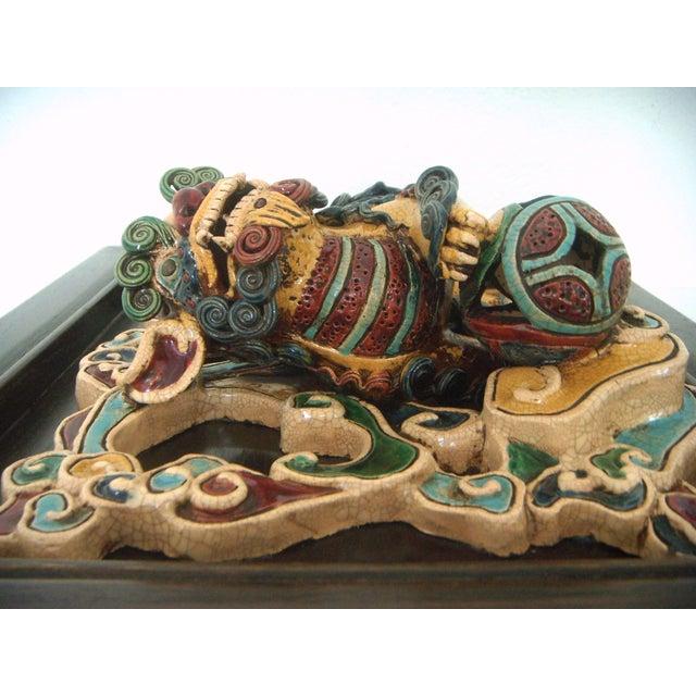 Framed Antique Chinese Ceramic Tile - Foo Dog/Lion For Sale - Image 4 of 10