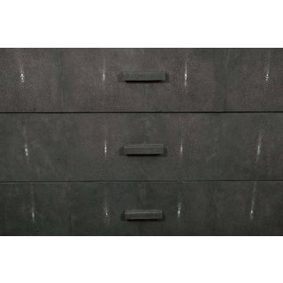 Custom Gray Lacquer Dresser with Genuine Shagreen Draw Fronts