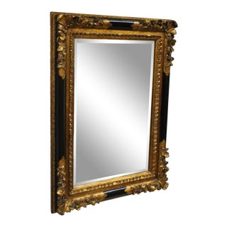 Vintage French Rococo Louis XV Style Black & Gold Beveled Glass Wall Mirror For Sale