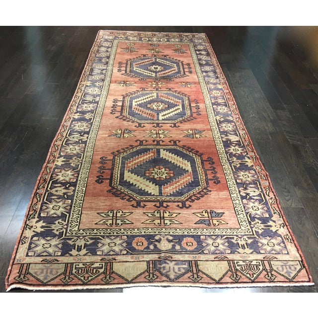 "Vintage Turkish Oushak Runner - 4'4""x9'11"" - Image 2 of 10"