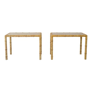 Hollywood Regency Faux Bamboo Side Tables- a Pair For Sale