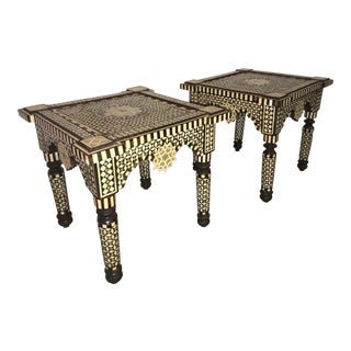 Syrian Bone Inlay Side Tables - a Pair For Sale
