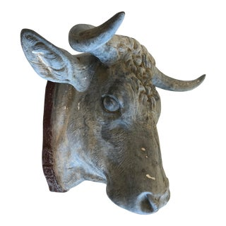 Antique Zinc Bull Head Wall Sculpture For Sale