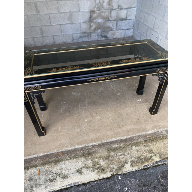 Chinoiserie Hollywood Regency Chinoiserie Fretwork Console Table For Sale - Image 3 of 10