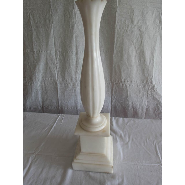 """Antique Alabaster Lamps (Pr.) Tall Elegant Fine-Lineation 33"""" Gray Shades (new) Excellent For Sale In New York - Image 6 of 8"""