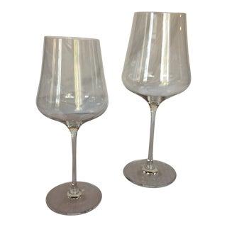Gabriel Glas Crystal Wine Glasses - Signed Set of 2 For Sale
