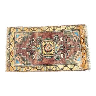 Vintage Boho Turkish Handmade Multicolor Small Rug For Sale