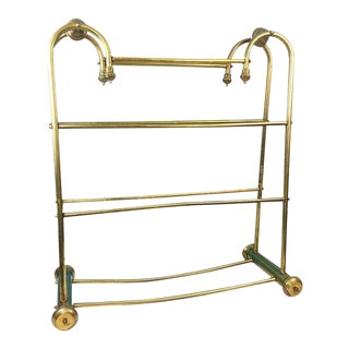 Hollywood Regency Brass Towel Quilt Floor Stand Rack