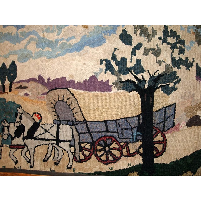 Americana 1880s Handmade Antique American Hooked Rug 1.10' X 3.9' For Sale - Image 3 of 6