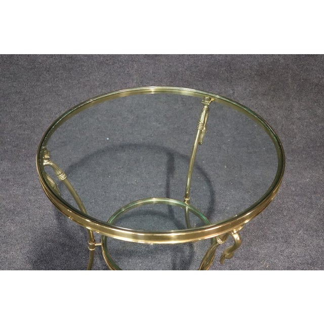 Regency Style Glass Top Brass Gueridons - a Pair For Sale - Image 9 of 11