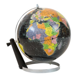 1950's Black Replogle Globe on Chrome Ring Base For Sale
