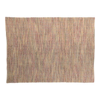 Solo Rugs Grit and Ground Collection Contemporary Leather Ribbons Hand-Knotted Flatweave Area Rug, Natural, 6' X 9' For Sale