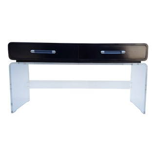 Italian Lucite and Black Laminate Wood Two Drawers Console Table For Sale