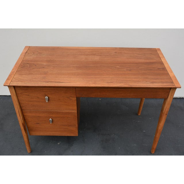 Mid-Century John Van Koert for Drexel Profile Walnut Floating Desk For Sale - Image 5 of 10